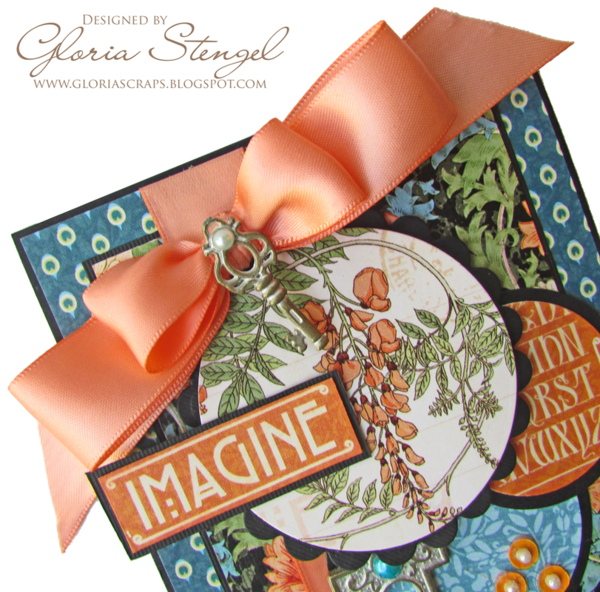 Gorgeous ribbon and key on Gloria's Artisan Style card #graphic45