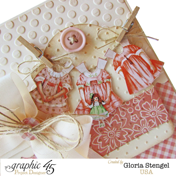 The fussy cutting adds so much on this beautiful baby girl Precious Memories card by Gloria #graphic45