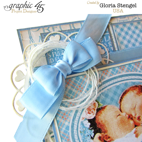 "Ribbon, twine, and more on this ""So Sweet"" twins baby card by Gloria using Precious Memories #graphic45"