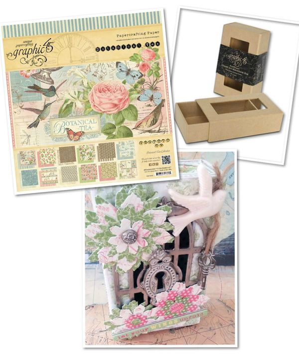 Rhea used Botanical Tea and our Small Matchbook Box Staples to make this gorgeous Spring piece #graphic45