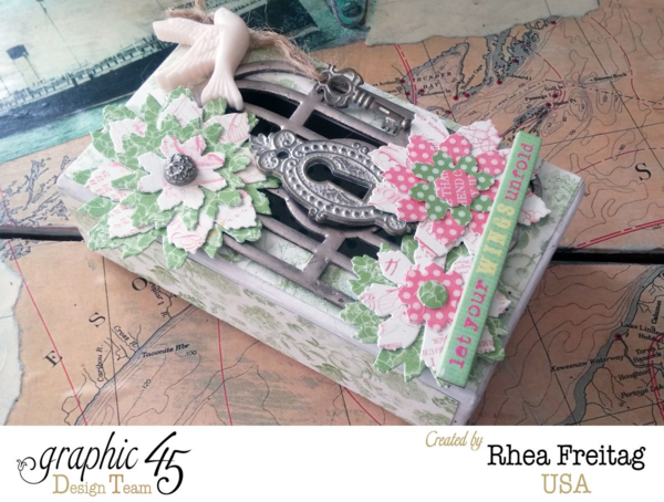 Rhea brilliantly uses our cardstock flowers and G45 Staples to create this Botanical Tea matchbook box #graphic45