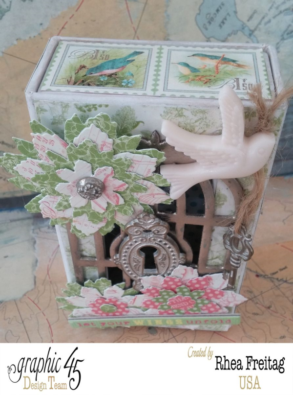 Layers, metal staples, and more on this gorgeous altered Botanical Tea matchbook box by Rhea #graphic45