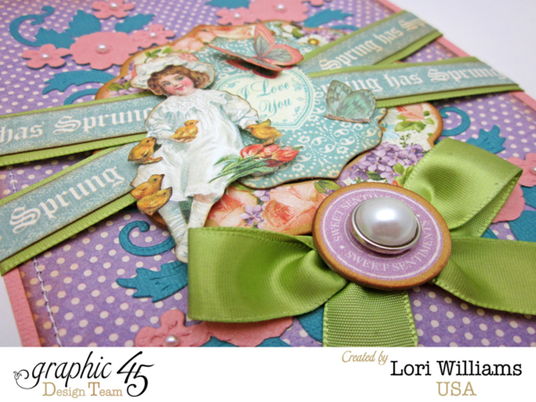 "Love the ribbon, fussy cutting, and pearl on this ""Spring has Sprung"" Sweet Sentiments card by Lori #Graphic45"