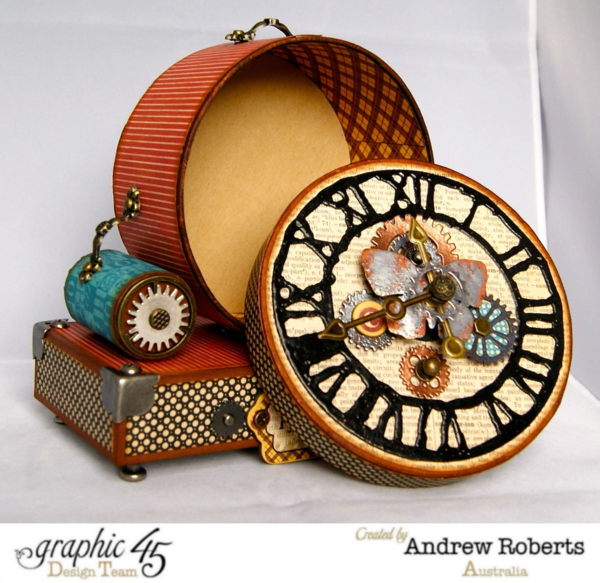 Surprise! This awesome altered Typography clock opens! You can keep a mini in here, use it as fun, secret storage, and more! By: Andrew Roberts #Graphic45