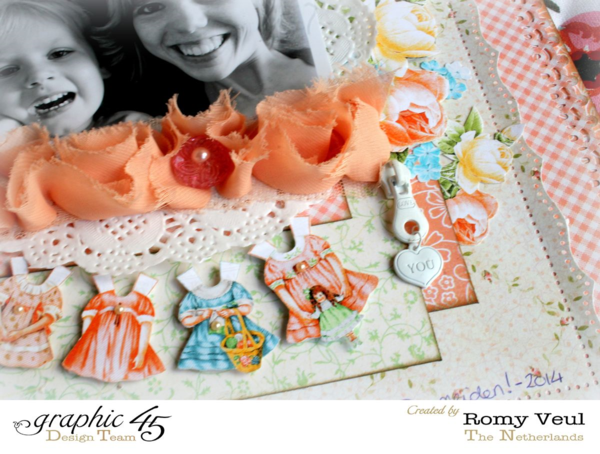Fussy cutting beauty on this gorgeous Precious Memories layout by Romy #graphic45