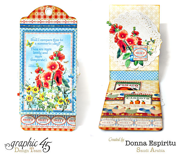 Beautiful tag by Donna in her Home Sweet Home mini album #Graphic45
