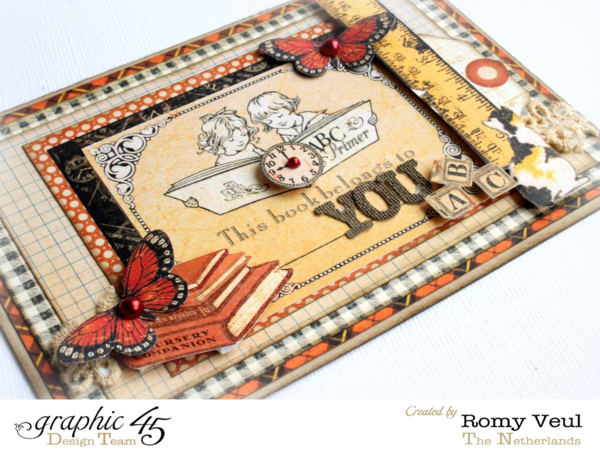 Love the butterflies and fussy cut embellishments on Romy's An ABC Primer card #graphic45
