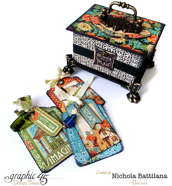 """Details of a Plan"" Artisan Style ATC Book Box by Nichola #graphic45"