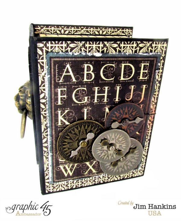 A clock is hiding inside this amazing altered ATC Book Box by Jim, The Gentleman Crafter! #graphic45