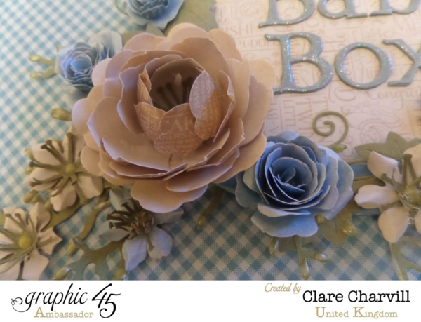 Stunning handmade flowers on this Precious Memories Baby Box by Clare Charvill #graphic45
