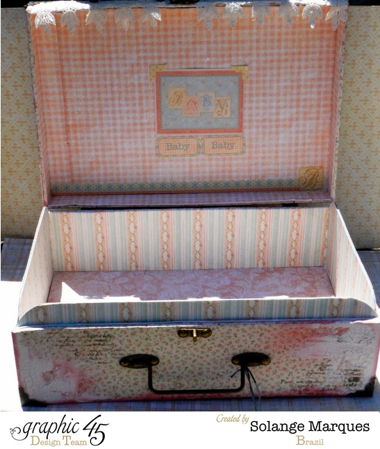 Pink, roses, and beautiful mixed media on this Baby 2 Bride altered suitcase by the amazing Solange Marques #graphic45