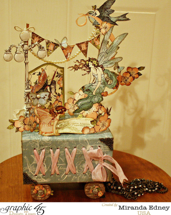 Tutorial: Make this gorgeous fairy garden by Miranda made from Once Upon a Springtime and Botanical Tea and our ATC Book Box #graphic45