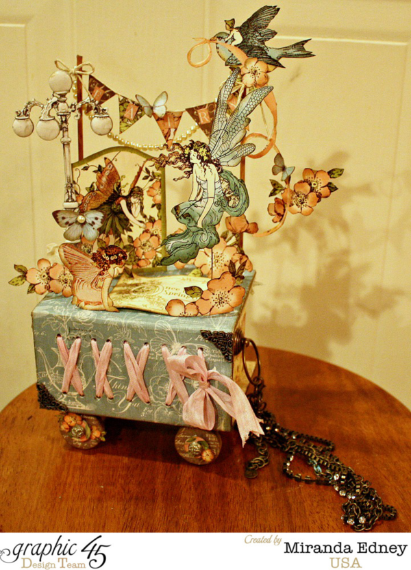 Stunning fussy cutting on this Once Upon a Springtime fairy garden ATC Book Box by Miranda #graphic45
