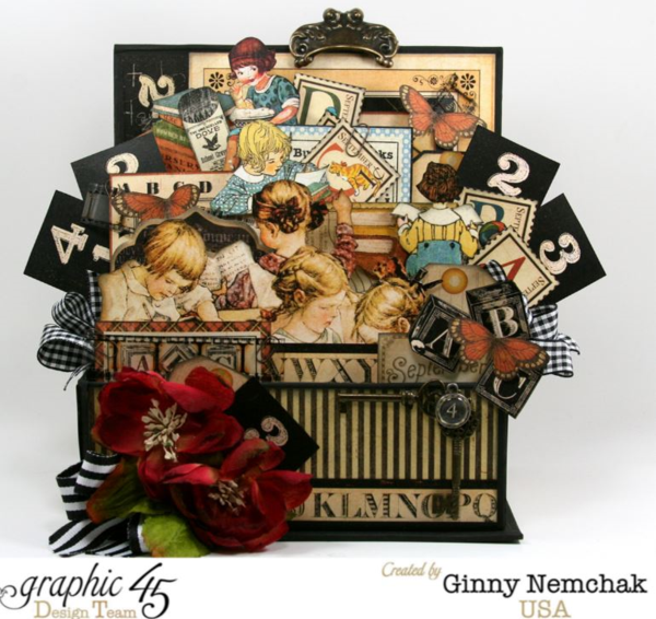 ABC Primer Book Box 3d Collage by Ginny Nemchak! What incredible fussy cutting and dimsension #graphic45