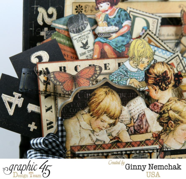 ABC Primer Book Box 3d Collage by Ginny Nemchak! Sweet imagery, butterflies, and more on this awesome collage! #graphic45