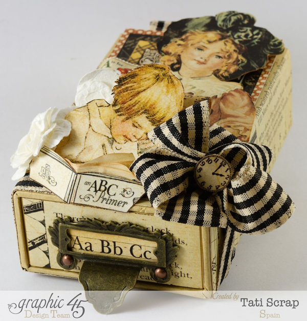 Fussy cutting magic on this An ABC Primer small matchbook box by Tati Scrap #graphic45