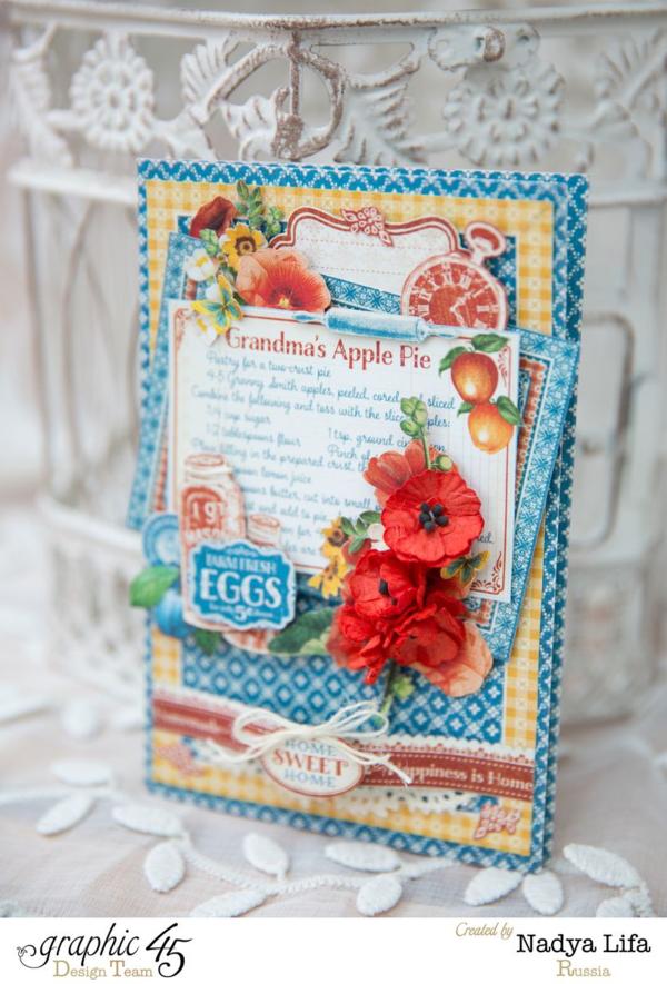 """Grandma's Apple Pie"" Home Sweet Home card by Nadya #graphic45"