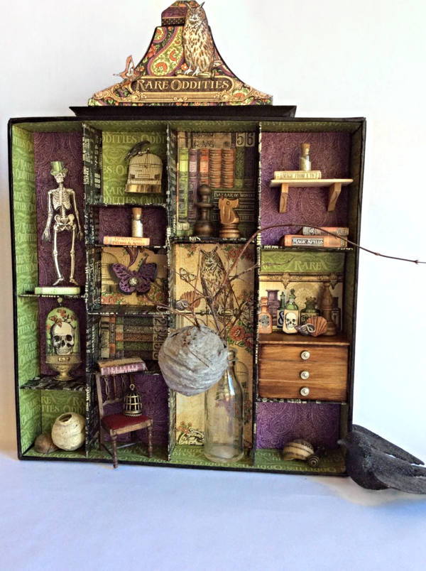 Rare Oddities Apothecary Cabinet. Perfect for Halloween home decor, or for any lover of skeletons, books, owls and odds and ends. @Graphic45
