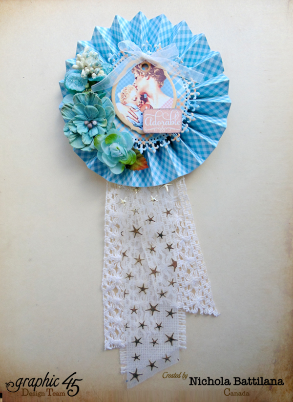 """Adorable"" Mother's Day Precious Memories rosette from Nichola #graphic45"