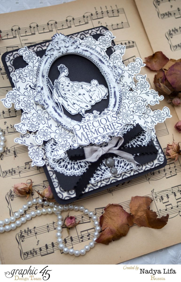 Gorgeous monochrome card by the amazing Nadya. Try it yourself with a great tutorial using Precious Memories stamps! #graphic45