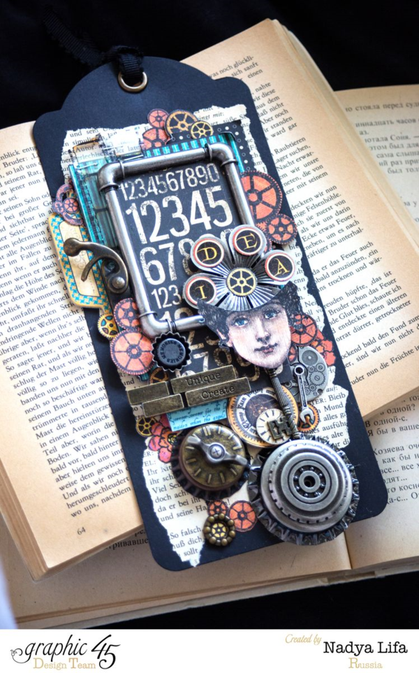 What a gorgeous Steampunk Spells tag by the amazing Nadya! What incredible layering and dimension. #graphic45