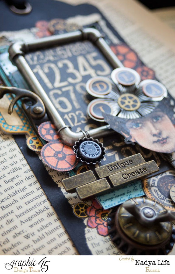 The metal clothespins are such a fun addition on this black Large Tag Staple by Nadya using Steampunk Spells! #graphic45
