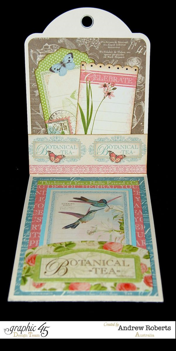 What a gorgeous Botanical Tea tag by Andrew Roberts! #graphic45
