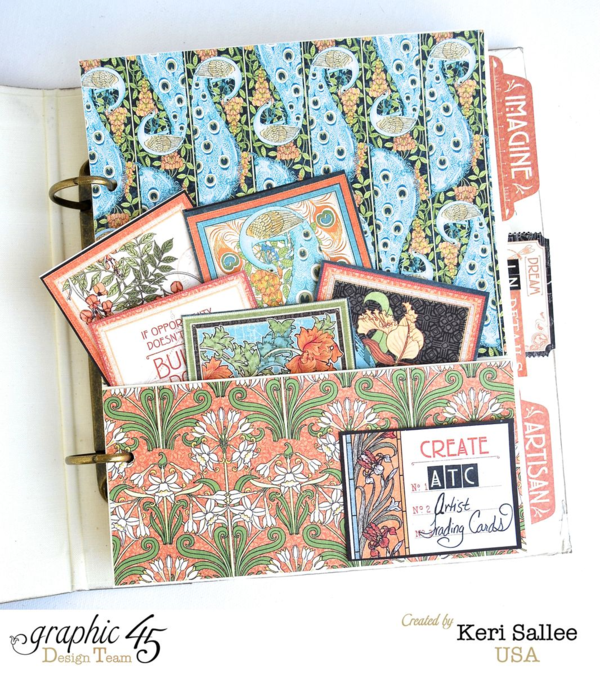 Keep your ATCs altogether in a great handmade folder. This idea is by Keri using Artisan Style and our Mixed Media Album Staples #graphic45