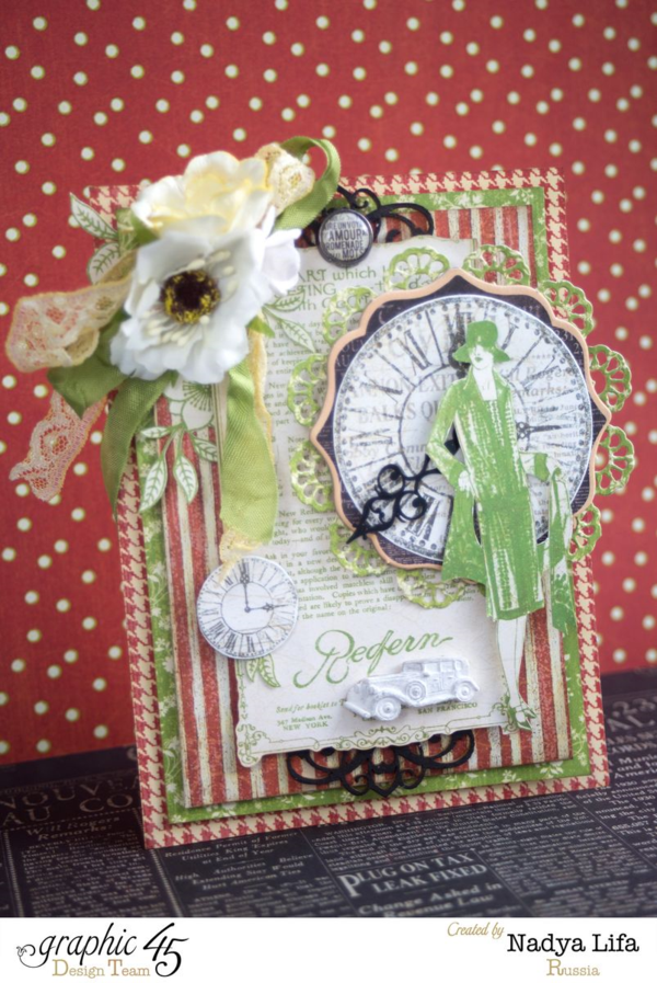 Gorgeous card by Nadya Lifa using Times Nouveau! Love the gorgeous layers and florals. Wow! #graphic45
