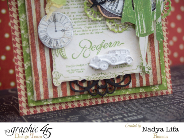 Such fun embellishments and details on Nadya's Times Nouveau card. Love that mini car! #graphic45