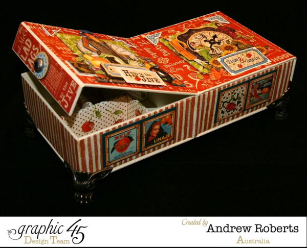 Times nouveau haberdashery box by Andrew. Love the way this opens to reveal storage solutions! #graphic45
