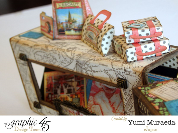 Love these tiny altered bags and suitcases on Yumi's Come Away with Me music box #graphic45