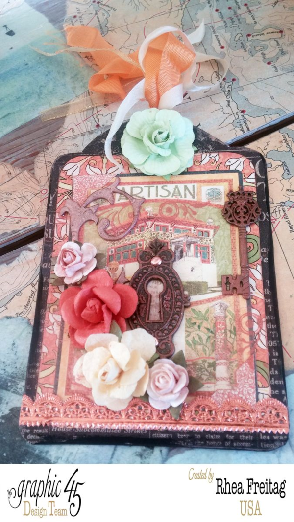 What gorgeous colors and layers on this Artisan Style tag by Rhea #graphic45