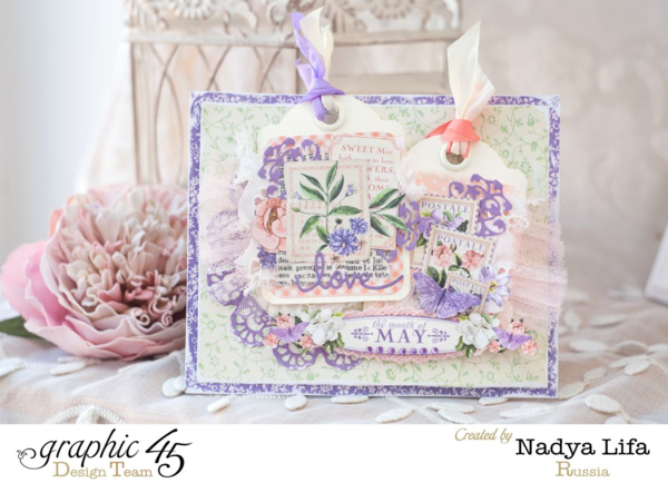 Beautiful Time to Flourish card with ATC Cards on the front by Nadya. Gorgeous colors! #graphic45