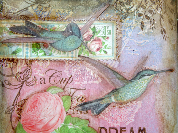 Gorgeous birds and texture on Annette's Botanical Tea art journaling pages #graphic45