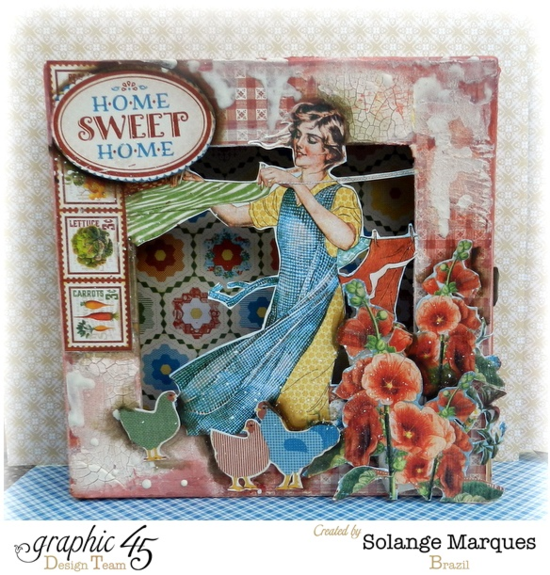 Mixed Media Box by Solange using Home Sweet Home! What beautiful texture and layered images #graphic45