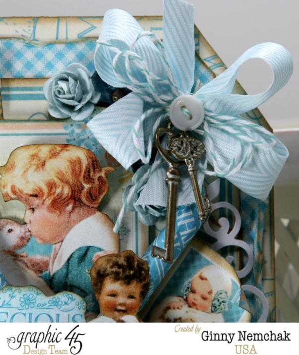 Gorgeous ribbon and keys on Ginny's Precious Memories tag #graphic45