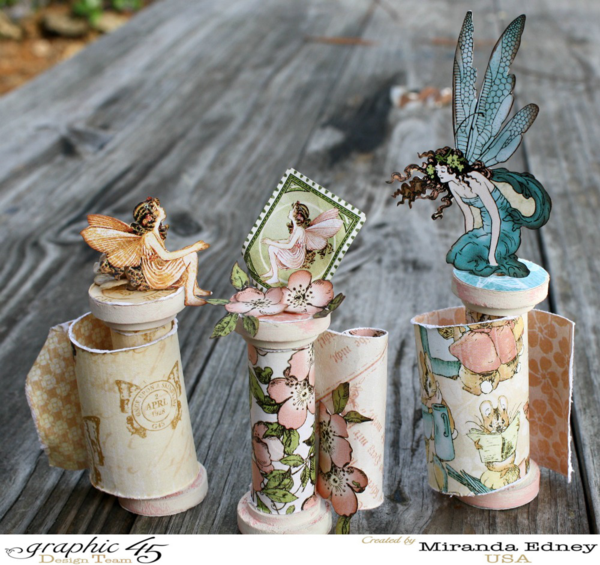 Once Upon a Springtime altered spools by Miranda #graphic45