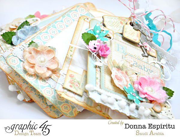 Baby 2 Bride tag mini album by Donna Espiritu - click to see tutorial! #graphic45