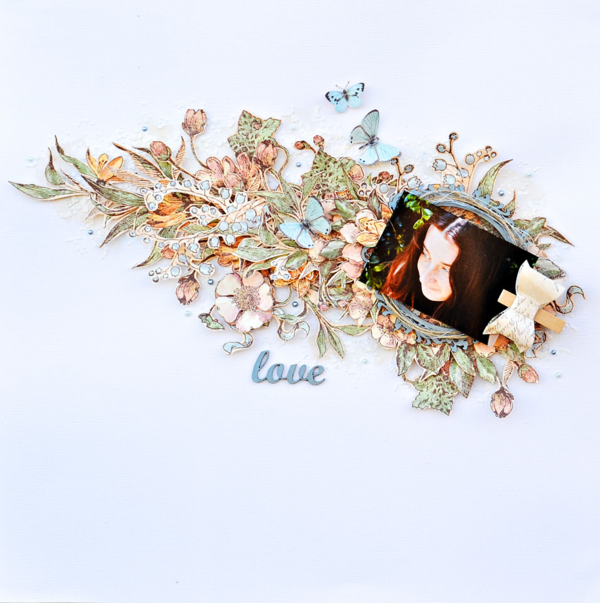 """Love"" layout using Botanical Tea and A Ladies' Diary by Joanne Bain #graphic45"