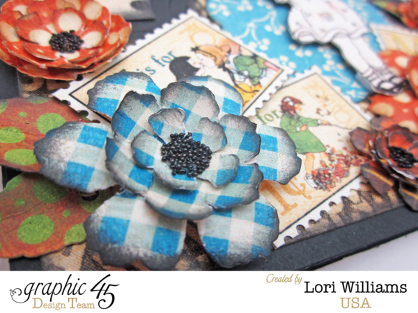 Beautiful flowers on this ABC Primer Graphic 45 sizzix easel card by Lori Williams #graphic45