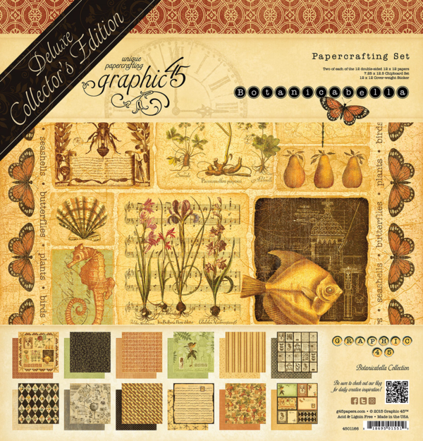 Look for our Deluxe Collector's Edition Botanicabella in stores in late August 2015. This set comes with 12 double-sided papers, chipboard, and cardstock stickers #graphic45 #sneakpeeks