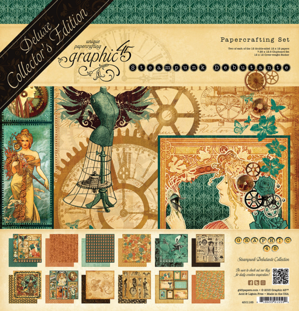 We are re-releasing Steampunk Debutante as a Deluxe Collector's Edition that comes with 12 double-sided papers, chipboard, and cardstock stickers #graphic45 #sneakpeeks