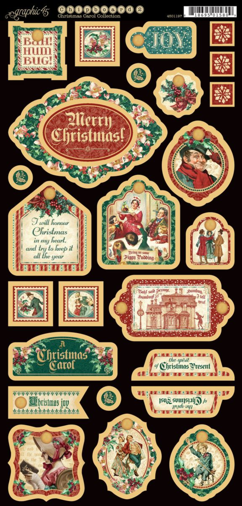 A Christmas Carol Decorative Chipboard. This new collection will be in stores in late August 2015 #graphic45 #sneakpeeks