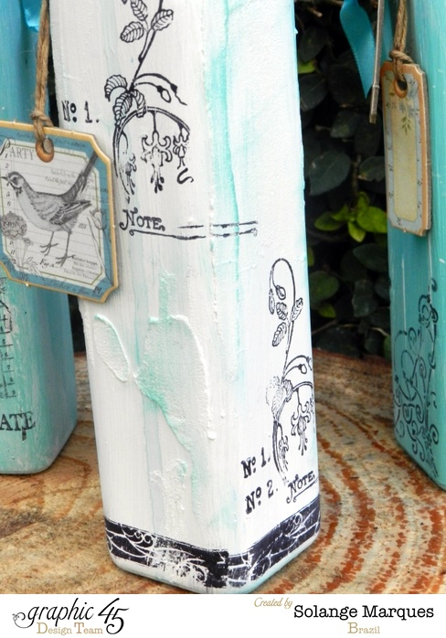 Altered Bottles by Solange Marques using Graphic 45 stamps and chipboard tags  (6)