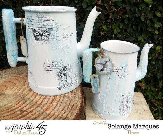 Altered Tea-pot by Solange Marques using Graphic 45 Stamps and chipboard tags (1)