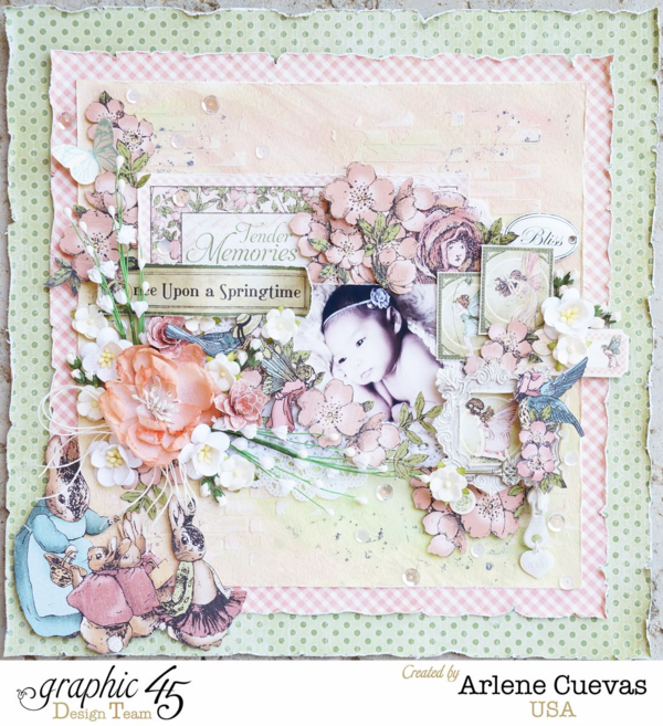 Once Upon a Springtime layout by Arlene using Faber-Castell and Graphic 45