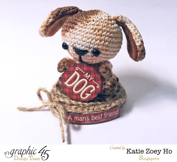 Raining Cats & Dogs altered doghouse and handmade crochet puppy by Katie #graphic45