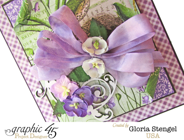 Time to Flourish card by Gloria with custom dyed seam binding #graphic45