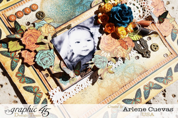 Steampunk Debutante baby layout by Arlene using Clearsnap and G45 #graphic45